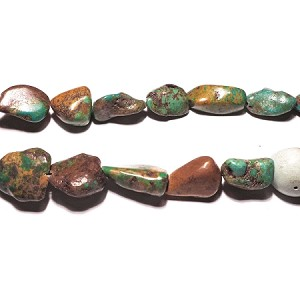 Turquorise03 Bead, turquoise (dyed / stabilized), green, small pebble