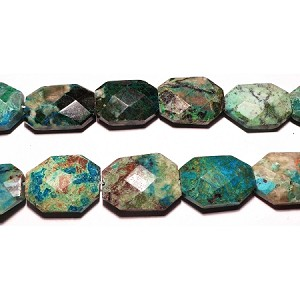 Turquorise05 Bead, turquoise (dyed / stabilized), green, 30x22mm fac flat rectangular , C grade