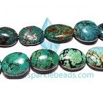 Turquorise01 Bead, turquoise (dyed / stabilized), green, 32x22mm-36x25mm flat oval, A grade