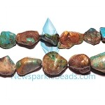 Turquorise02 Bead, turquoise (dyed / stabilized), green, Medium pebble
