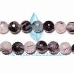 TQ5 Beads , 14mm fac , round , Toumalited Quartz