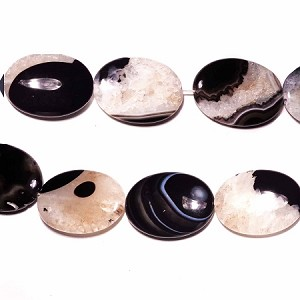 AG-BW15 Beads , 40*30mm , Oval , Black White Agate