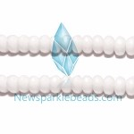AG-BW06 , Beads ,8*5mm , white fac roundlle , agate