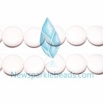 AG-BW07 , Beads ,18mm , white flat round , agate