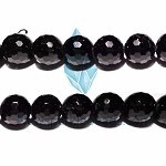AG-BW10 , Beads ,14mm black fac round , black agate