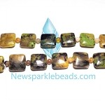 Green Grass Agate14   14 mm Square  Beads