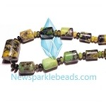 Green Grass Agate15   20*15mm-8*6mm Heishi  Beads