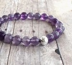 "Bracelet,Hand-made, four strands, Amethyst (meaning from Greek ""not to intoxicate, a Stone that purifies you ), 8 mm"