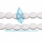 AG-BW08 , Beads , white 16*12mm , fac oval , agate