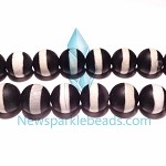 AG-BW11 , Beads ,12mm  round black & white agate