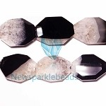 AG-BW17 Beads , 35*25mm , Octagon , Black White Agate