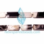 AG-BW22 Beads , 30*14mm , Tube Cut , Black White Agate