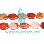 AG-R5 Beads , red agate handcut  nugget , 25*13mm