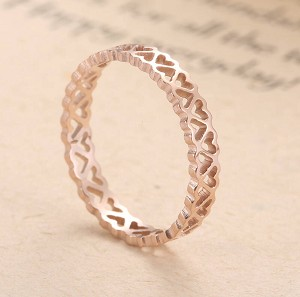 Stainless Steel, Rose Gold, Heart-shaped, width 2.5mm, Size 8