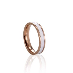 Stainless Steel, Rose gold, width 2.5mm, white enamel, Size 6