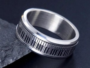 Stainless Steel, Silver, Piano movable, Band width 8mm, Size 8
