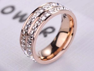 Stainless Steel, Rose gold, Cubic zirconia, Band width 7mm, Size 8