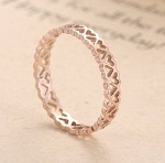 Stainless Steel, Rose Gold, Heart-shaped, width 2.5mm, Size 6