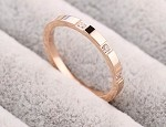Stainless Steel, Rose gold, Cubic zirconia, Band width 2mm, Size 9