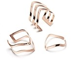 Stainless Steel, Rose gold, 3-layerd width 12 mm, Adjustable